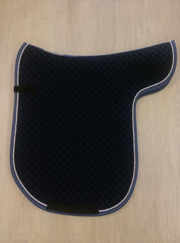 Satteldecke Island nachtblau Kordel silber-Lurex Einfass taubenblau