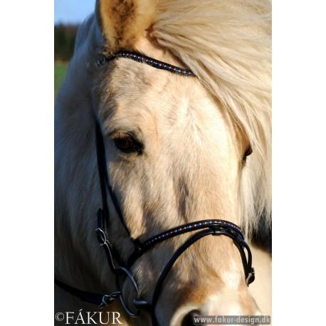 Kopfstück Nordic Horse geschwungenes Kopfstück mit islandfarbenen Steinen