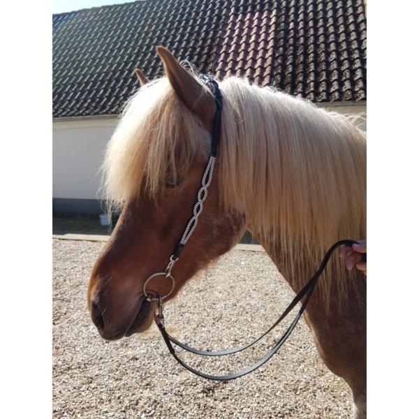 Nackenriemen Nordic Horse 2 Wellen mit Steinen silber (ohne Stirnriemen)
