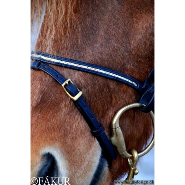 Nordic Horse engl. Reithalfer schwarz zierlich geflochten pastell-farben